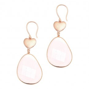 Earrings put of metal pink gold plated with crystals - Nectar
