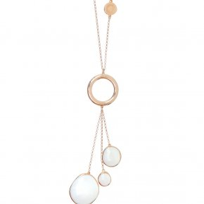 Necklace out of metal pink gold plated enameled - Aigaio