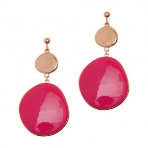 Earrings out of metal, pink gold plated enameled - Aigaio