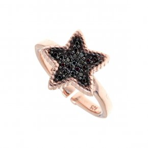 Ring silver 925, pink gold plated with black spinels - WANNA GLOW