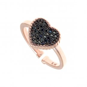 Ring silver 925, pipnk gold plated with black spinels - Artemis