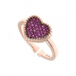 Ring silver 925, pink gold plated with colored zirconia - Artemis