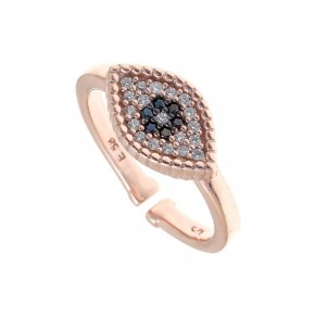 Ring silver 925, pink gold plated with white zirconia - Artemis