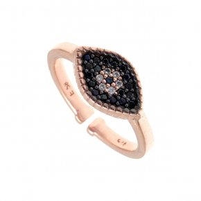 Ring silver 925, pink gold plated with black spinels - Artemis