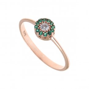 Ring Silver 925 pink gold plated with colored zirconia - Helios