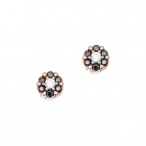 Earrings silver 925, pink gold plated with colored zirconia - Helios