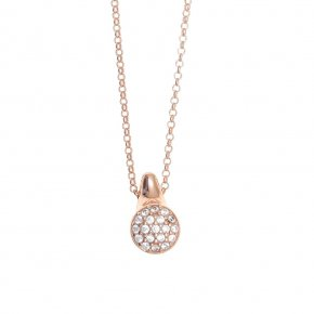 Necklace silver 925, pink gold plated with white cz - Abyssos