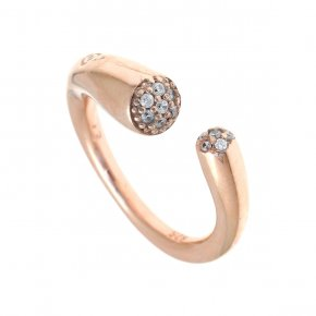 Ring silver 925, pink gold plated with white zirconia - Abyssos