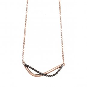 Necklace in silver 925 pink gold plated with colored zirconia - Echo