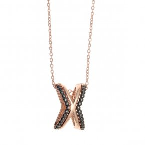 Necklace silver 925, pink gold plated with colored zirconia - Echo