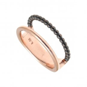 Ring Silver 925 pink gold and black rhodium plated - Echo