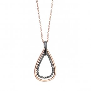 Necklace in silver 925 pink gold and black rhodium plated - Echo