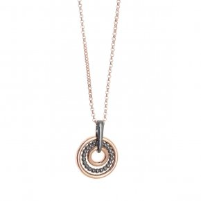Necklace in silver 925, pink gold and black rhodiumplated - Echo