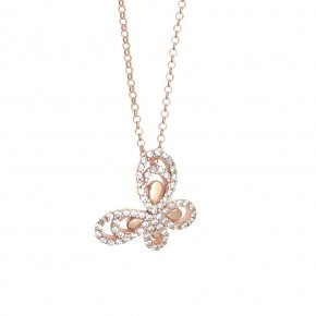 Necklace in silver 925 pink gold plated with white zirconia - Aelia
