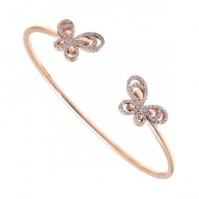 Bracelet in silver 925 pink gold plated with white zirconia - Aelia
