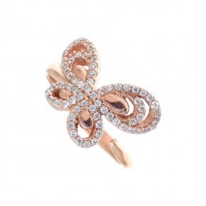 Ring Silver 925, pink gold plated with white zirconia - Aelia