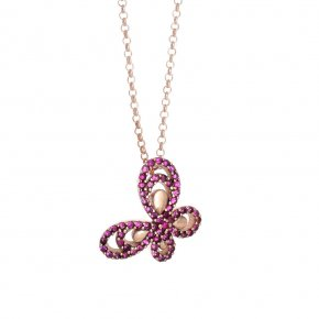 Necklace in silver 925 pink gold plated with colored zirconia - Aelia