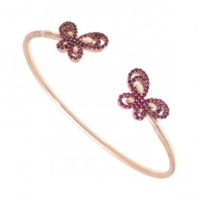 Bracelet in silver 925 pink gold plated with colored zirconia - Aelia