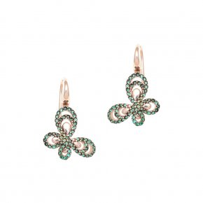 Earrings Silver 925 pink gold plated with colored zirconia - Aelia