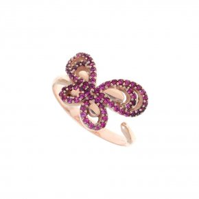 Ring Silver 925 pink gold plated with colored zirconia - Aelia
