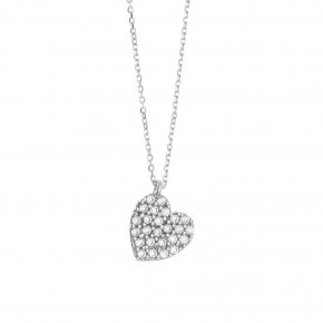 Necklace in white gold 14 carats with white zirconia - ETERNAL