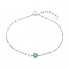Bracelet in white gold 14 carats with white zirconia and enamel - ETERNAL