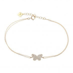 Bracelet in pink gold 14 carats with white zirconia - ETERNAL