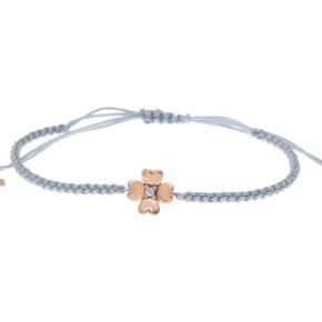 Cord Bracelet in pink gold 14 carats with white zirconia - ETERNAL