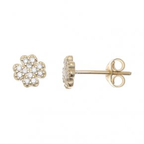 Earrings in gold 14 carats with white zirconia - ETERNAL
