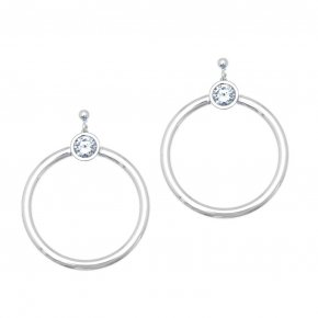 Earrings in silver 925 rhodium plated with white zirconia - Echo