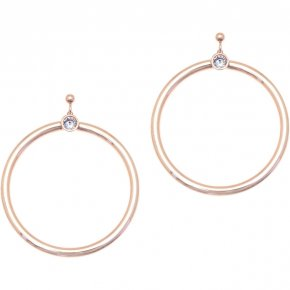 Earrings in silver 925 pink gold plated with white zirconia - Echo