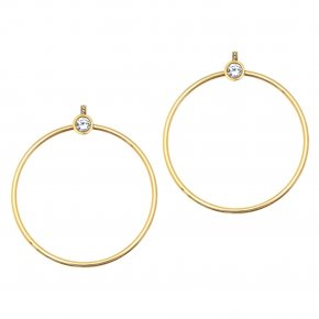 Earrings in silver 925 gold plated with white zirconia - Echo