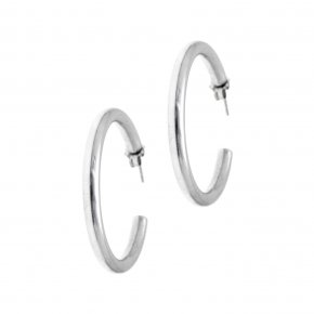 Earrings in silver 925 rhodium plated (3.2 cm diameter, 0,4 cm thick) - Echo