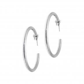 Earrings in silver 925 rhodium plated (4.3 cm diameter, 0,4 cm thick) - Echo
