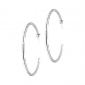 Earrings in silver 925 rhodium plated (4,5 cm diameter, 0,3 cm thick) - Echo