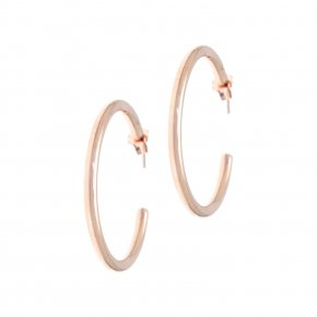 Earrings in silver 925 pink gold plated (4.3 cm diameter, 0.4 cm thick) - Echo