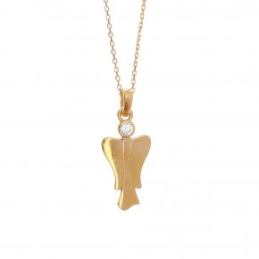 Necklace in silver 925, gold plated with white zirconia - Aggelos