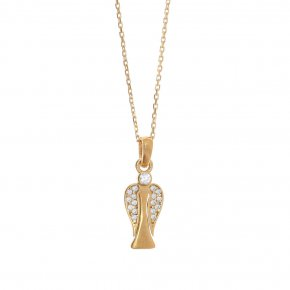 Necklace in silver 925 gold plated with white zirconia - Aggelos