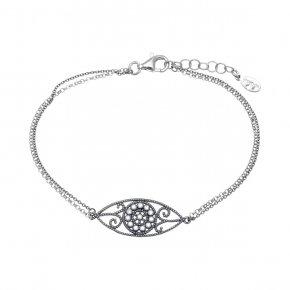 Bracelet in silver 925, rhodium plated with white zirconia - Pathos