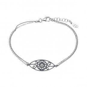 Bracelet in silver 925 rhodium plated with white zirconia - Pathos