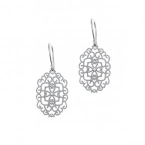 Earrings in silver 925, rhodium plated with white zirconia - Pathos