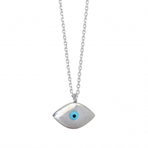Necklace in silver 925, platinum plated with an eye madeof enamel - Charisma