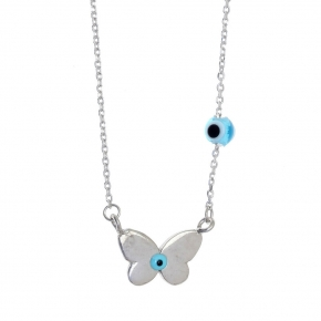 Necklace in silver 925 platinum plated with an eye made of enamel - Charisma