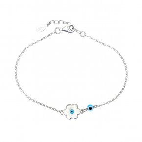 Bracelet in silver 925 rhodium plated with an eye out of enamel - Charisma
