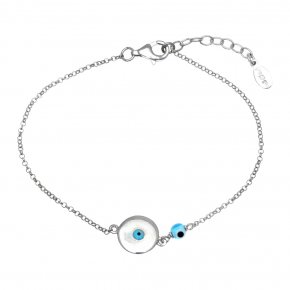 Bracelet in silver 925, rhodium plated with an eye out ofenamel - Charisma