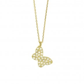 Necklace in gold 14 carats with white zirconia - ETERNAL