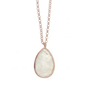 Necklace in silver 925 pink gold and black rhodium plated with moonstone and fresh water pearl - Petra