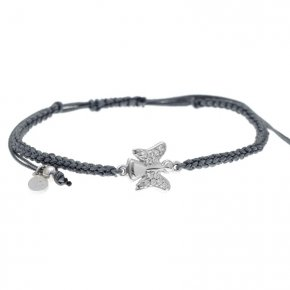 Cord Bracelet in silver 925, rhodium plated with white zirconia - Aggelos