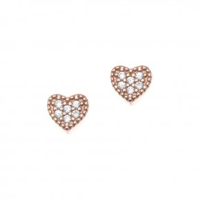 Earrings in silver 925, pink gold plated with white zirconia - Mitos