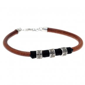 Leather Bracelet in silver 925 pink gold plated - Apopsis